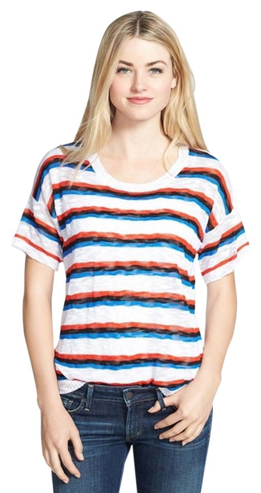 Kensie delicate striped sheer knit t shirt white black for Red blue striped shirt