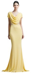 Badgley Mischka Beaded Yellow Formal Backless Dress
