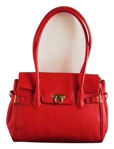 Muska Milano Leather Leather Satchel in Red