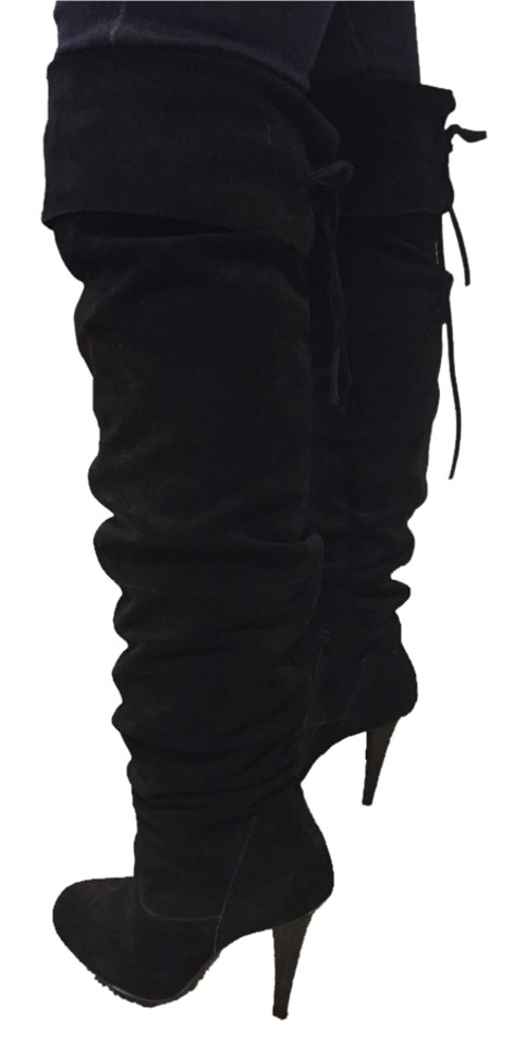 Steve Madden Black Suede Knee Over The Knee Suede Boots/Booties 63076d