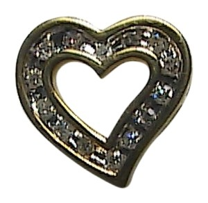 Unknown 10k solid Yellow Gold .12 cts Diamond Heart Pendant (R2)