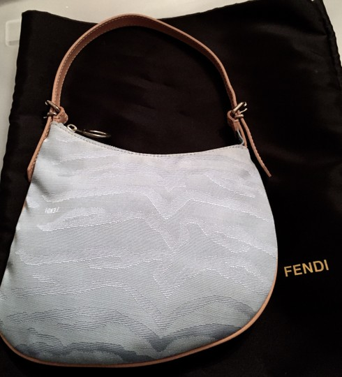 Fendi Mint Condition Monogram Christmas Vintage Light Blue Clutch
