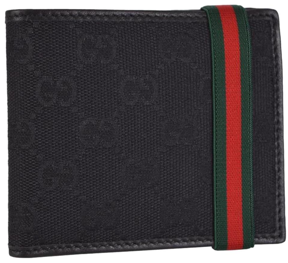 294733737f4b Gucci New Gucci Men's 152621 Black GG Guccissima Red Green Web Band Wallet  Image 0 ...