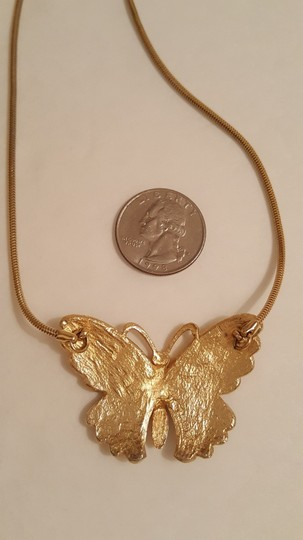 Retro Gold Tone Enameled Butterfly Choker Necklace Vintage Enamel Butterfly Choker Necklace