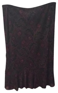 Express Skirt Black Burgundy Gold