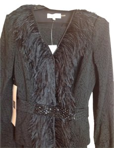 Rickie Freeman for Teri Jon Teri Jon Black Brocade Ostrich feather suit