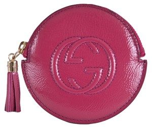 Gucci New Gucci 337946 Soho PINK Patent Leather Zip Around GG Coin Purse