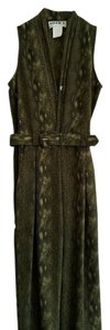 Studio One STUDIO I ONE Snake Print Plunged Neck Belted Sleeveless Green Jumpsuit Size 4 NWT