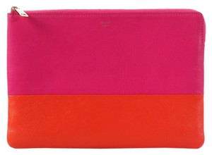 Céline Pink Orange Leather Bi-color Clutch