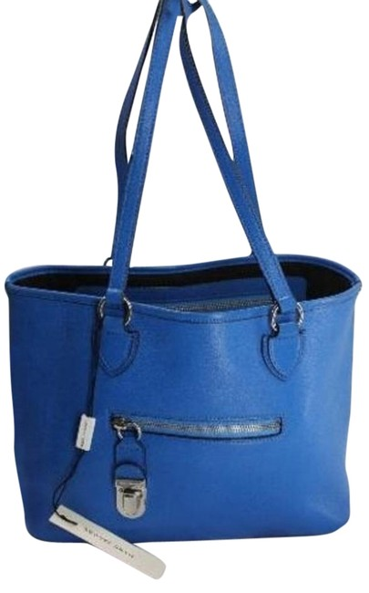 Item - Shopping Manhattan Hold All Push Lock Blue Leather Tote