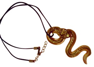Other Murano glass snake cobra pendant choker on cord - pretty metallic colors bronze gold reptile charm