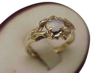 Other Estate Vintage Deco 14k Yellow Gold Genuine Opal Ring, 1950's