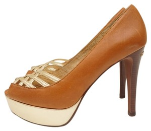 Michael Kors Peep Toe Platform Pump Luggage brown Pumps