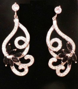 Other Elegant Black Sapphire, White Topaz, 14k White Gold over 925 Sterling Silver Earrings