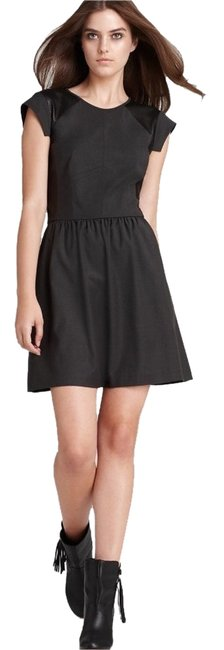 Rebecca Taylor short dress Grey Twill Twill Leather Perforated Leather Wear To Work Edgy Leather Sleeves Work on Tradesy