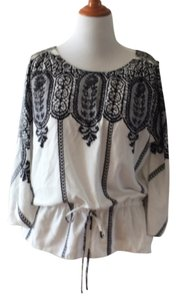 ECI New York Drapey Grecian Dolman Split Print Top Black and cream