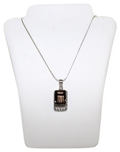 Other Silver Necklace with Brown Crystal Charm