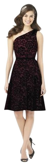 Item - Burgundy / Black 8141 Mid-length Night Out Dress Size 6 (S)
