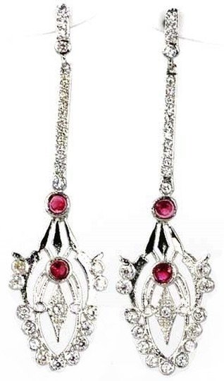 Other Exquisite, Pink Raspberry Rhodolite Garnet Art Noveau Style 925 Sterling Silver Earrings