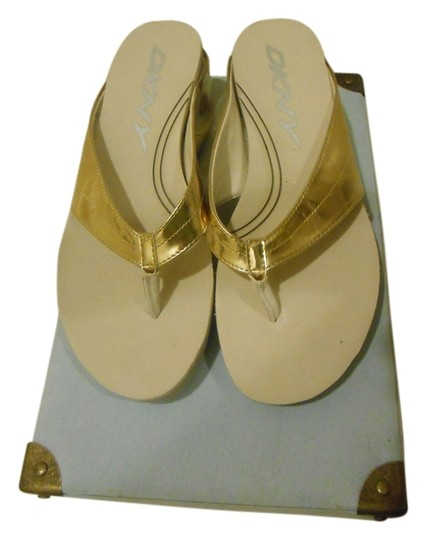 DKNY Gold Wedges