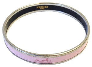 Hermès WAS $285 #6013 Pink logo H Pink enamel plated Bangle silver