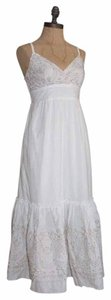 Anthropologie short dress WHITE Layered Tea Embroidered Romantic Midcalf on Tradesy
