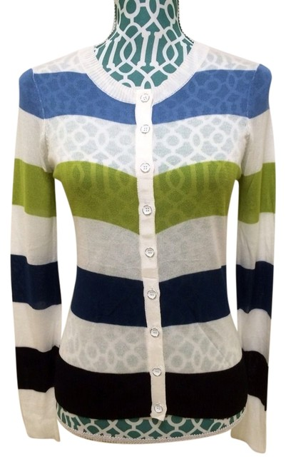 Preload https://item5.tradesy.com/images/kensie-white-blue-green-delicate-striped-sheer-cardigan-sweaterpullover-size-4-s-1478934-0-0.jpg?width=400&height=650