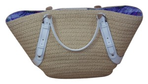 Salvatore Ferragamo Straw Natural/White Beach Bag