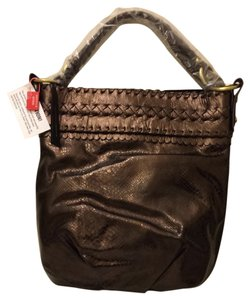 Francesco Biasia Leather Metallic Braided Hobo Bag