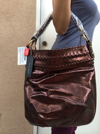 Francesco Biasia Leather Metallic Braided Brown Hobo Bag