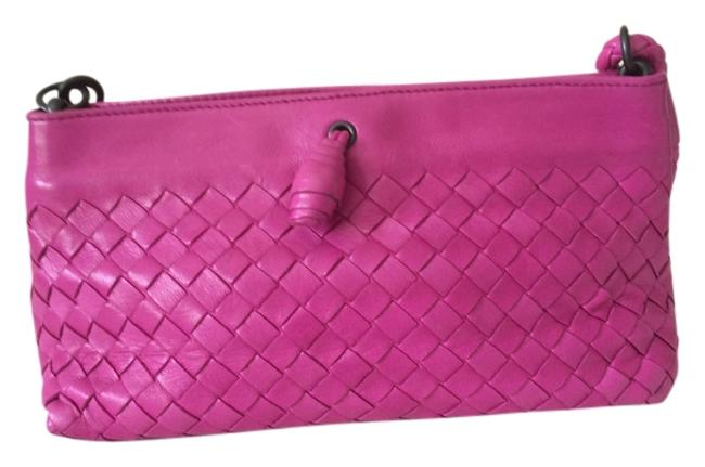 Item - Deep Pink Woven Leather Baguette