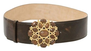 Roberto Cavalli Roberto Cavalli Belt Jeweled Buckle Italian Leather Western Belt w Gold hardware