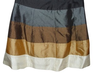 Plenty by Tracy Reese Silk Designer Short Mini Metallic Sheen Striped Bands Flare Flare Micro Mini Retro Look Hippie Skirt
