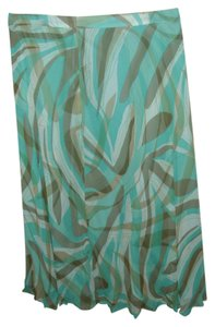 Kate Hill Seafoam Silk Designer 70s Stylish Skirt