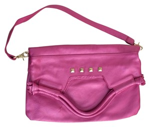 Foley + Corinna Leather Studded Convertible Tote in Metallic Pink