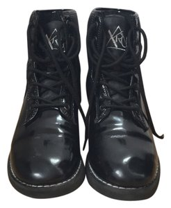 YRU Wedge Patent Leather Faux Leather Black Athletic