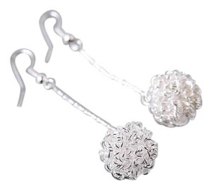 BRAND NEW Silver Plated Dangle 15mm Knot Ball Earrings