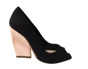 Dior Eclipse Peeptoe Wedge Black/ Pale Pink Pumps