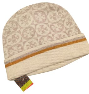 Tory Burch New Auth Tory Burch Two Tone Jacquard Knit Logo Beanie Hat