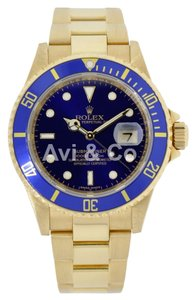 Rolex Rolex Submariner 18K Yellow Gold Watch Blue Dial & Bezel 16618