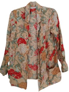 MINKPINK Soft Draped Pleated Floral Nude Blazer