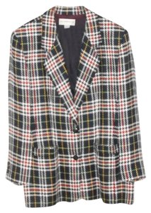 Liz Claiborne Plaid Multi-colored Plaid, mostly Navy & White Blazer