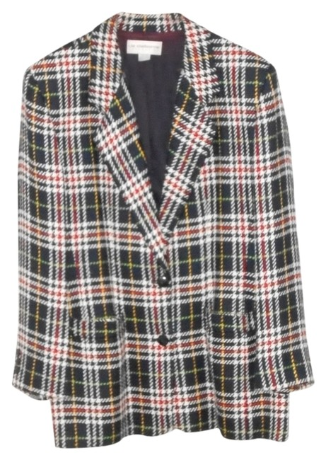 Liz Claiborne Not Wool Multi-colored Plaid, mostly Navy & White Blazer