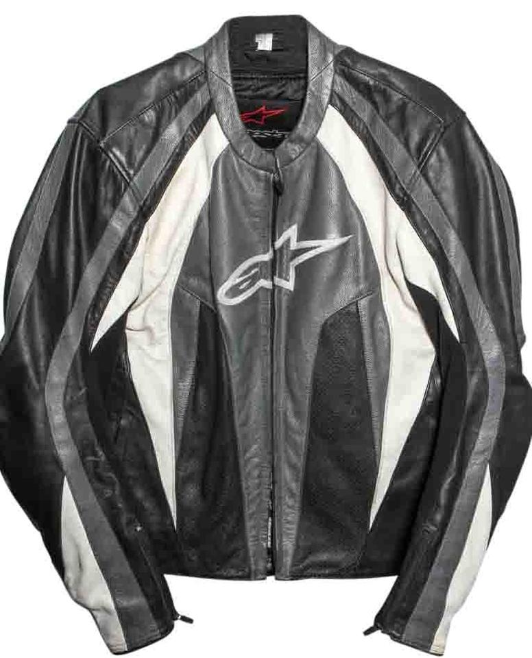 Alpinestars Motorcycle Jacket >> Alpinestars Gray White Black L Stunt Leather 44 Jacket Size 14 L