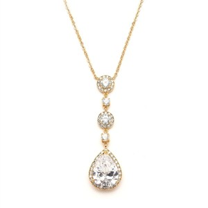 Mariell Best-selling Gold Bridal Necklace With Pear-shaped Cz Drop 400n-g