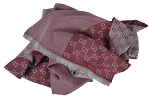 Gucci NEW Gucci 344994 100% Wool Cranberry Grey GG Guccissima Scarf Muffler