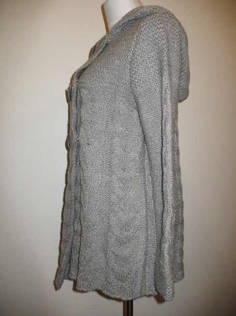 BCBG Max Azria Cardigan Double-breasted Cable Knit Hooded Wool Blend Sweater