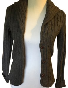 Chaps Ralph Lauren cardigan New w/ tags. Size S. Gray cardigan with Brown suede elbow patch on the back of each sleeve. Sweater