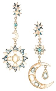 Eye Candy Los Angeles Sun, Moon & Stars - Gemstones & Zirconia -Dangling Statement Earrings