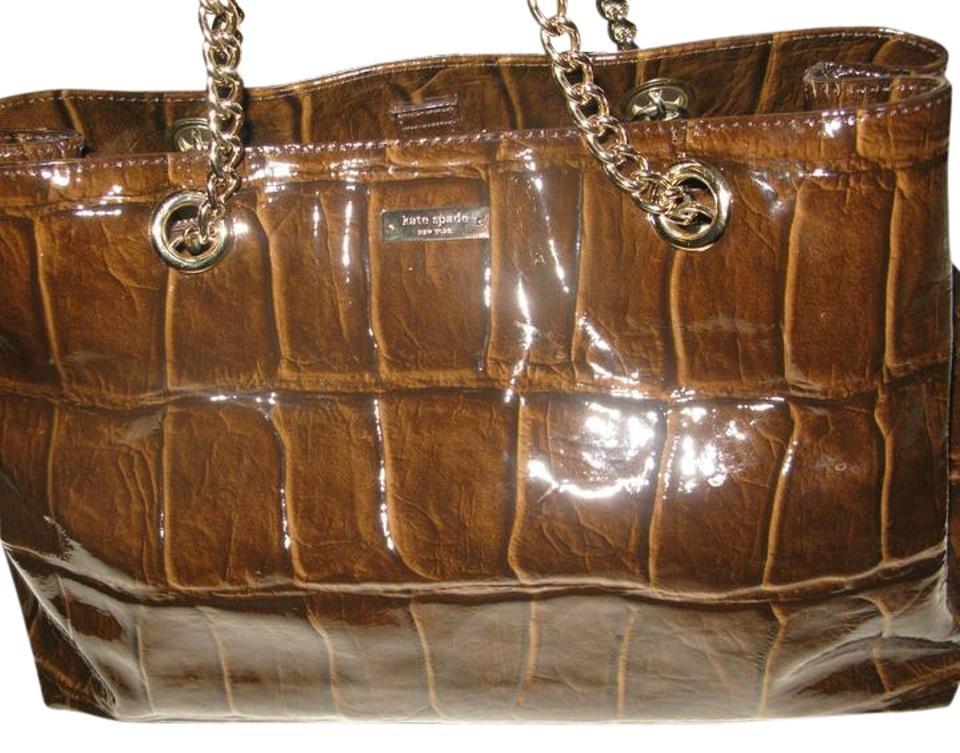 Kate Spade Croc Embossed Gold Hardware Chain Handle Tote Patent Leather Shoulder Bag